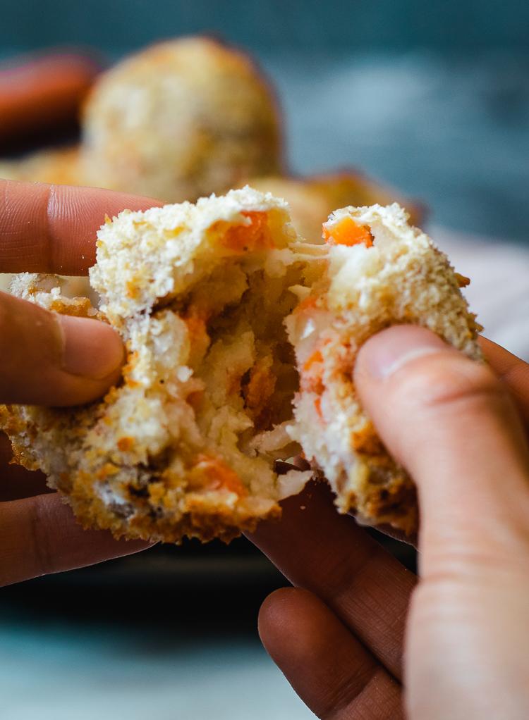 vegan korokke made in air fryer, cheese pull