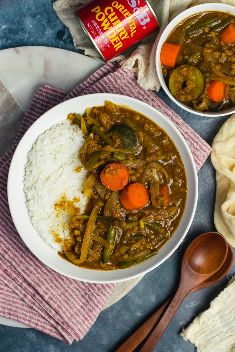 vegan japanese curry served in bowl with rice