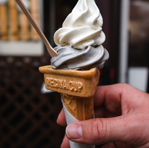 vegan soy milk sesame and vanilla soft serve in cone, from Kyozuan in Arashiyama, Kyoto