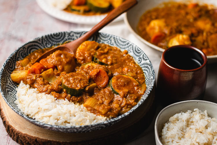 vegan japanese curry in a bowl with rice