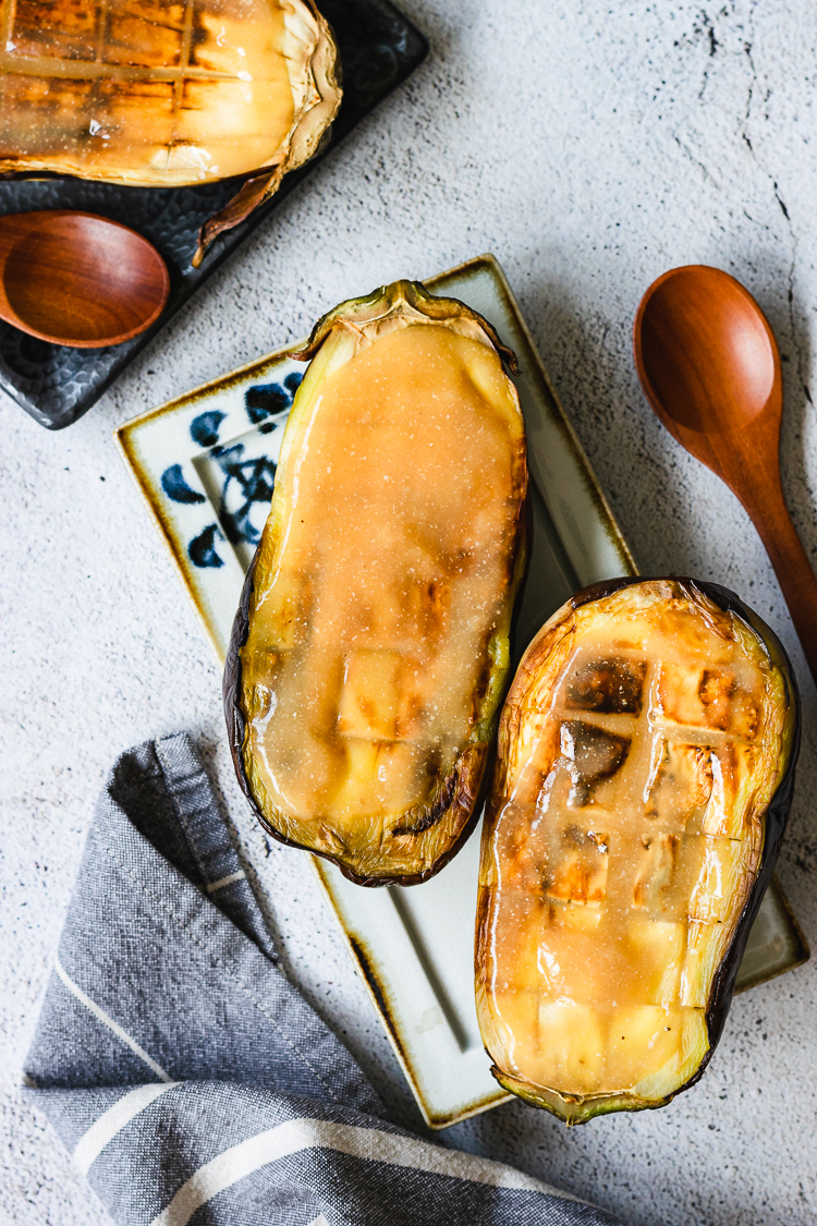 grilled eggplant halves coated in miso glaze