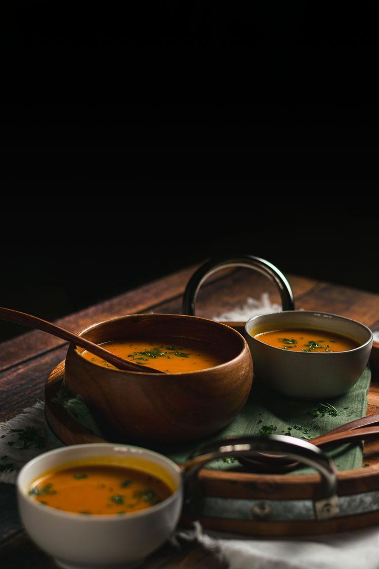 vegan kabocha soup in bowls