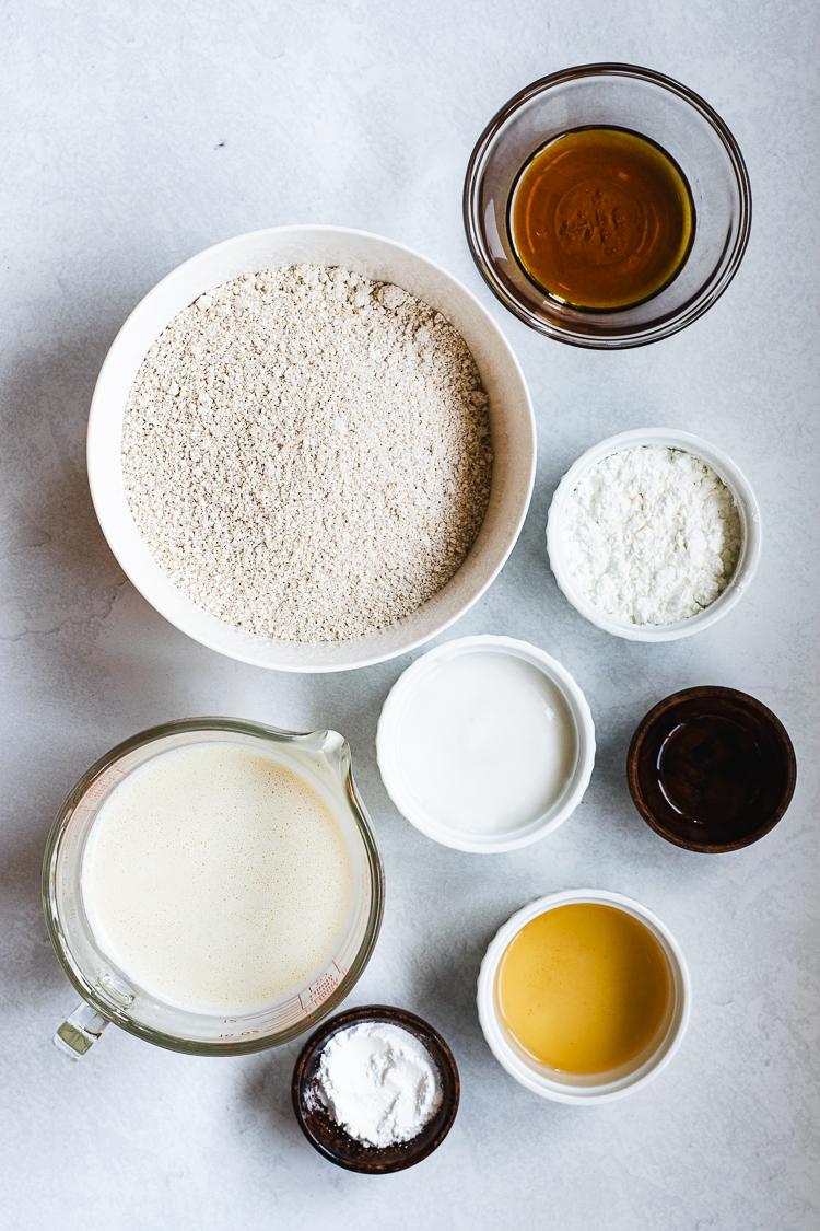 ingredients for vegan oatmeal pancakes