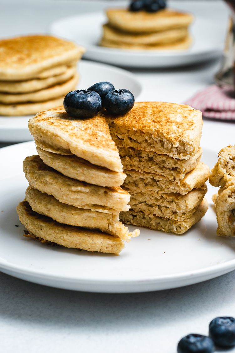 cross section of oatmeal pancake stack on plate