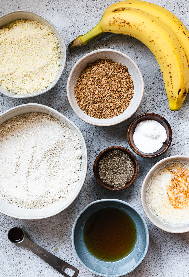 ingredients for vegan sesame banana muffins
