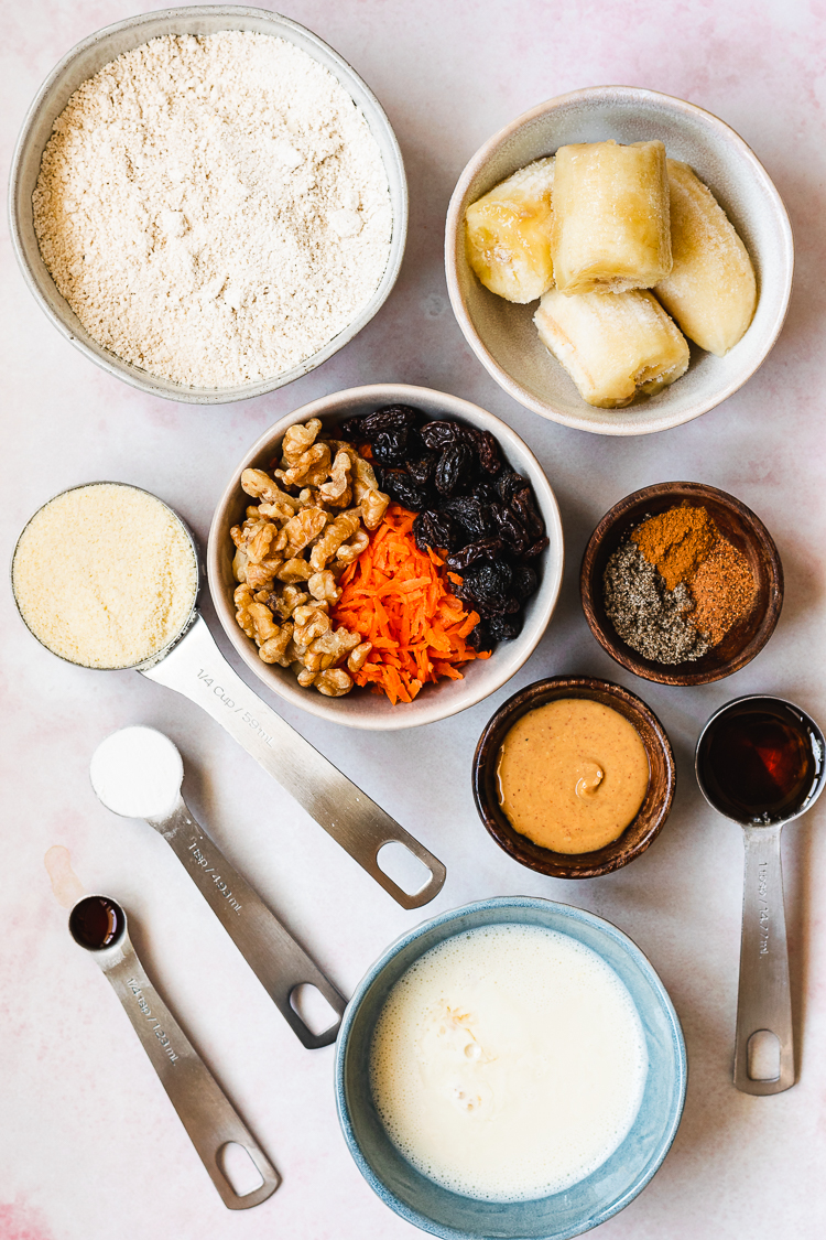ingredients for vegan carrot banana oat muffins