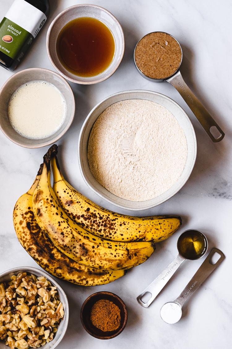 ingredients to make vegan banana bread