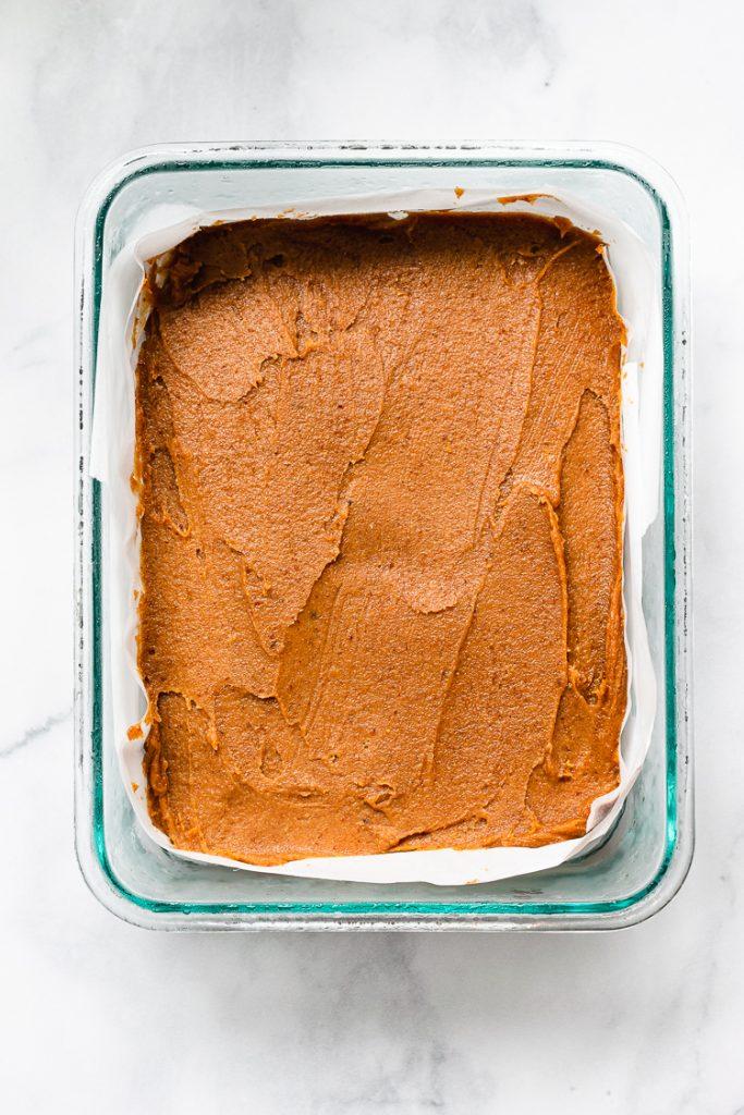 date caramel on top of vegan ice cream base
