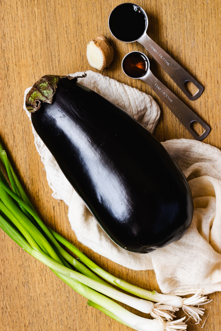 ingredients for steamed eggplant with green onion dressing