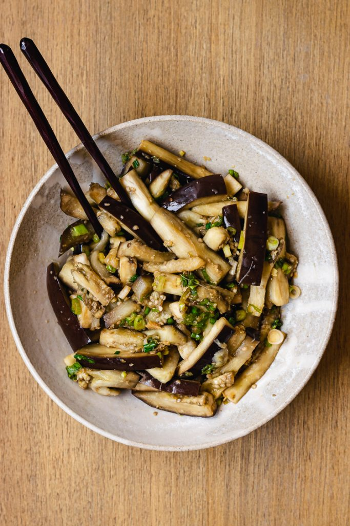 steamed eggplant with green onion dressing mixed in