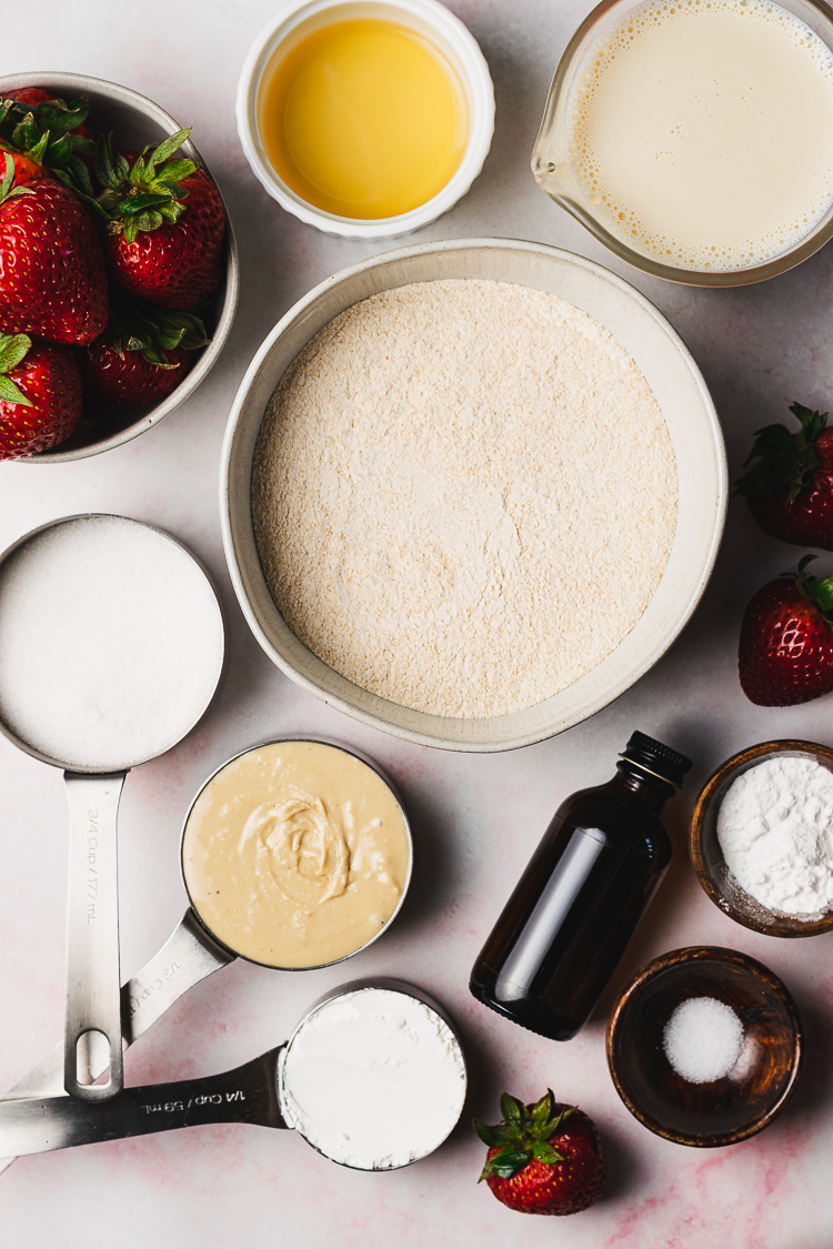 ingredients for vegan strawberries and cream cake