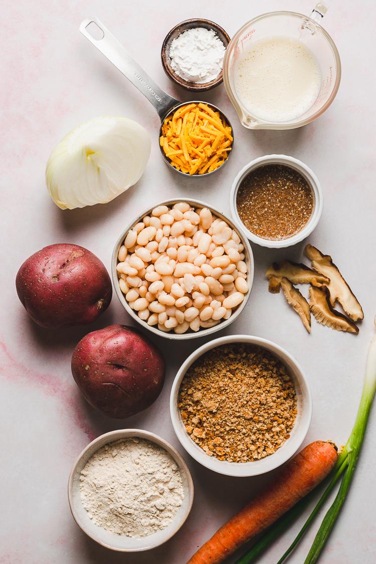 ingredients for vegan white bean korokke