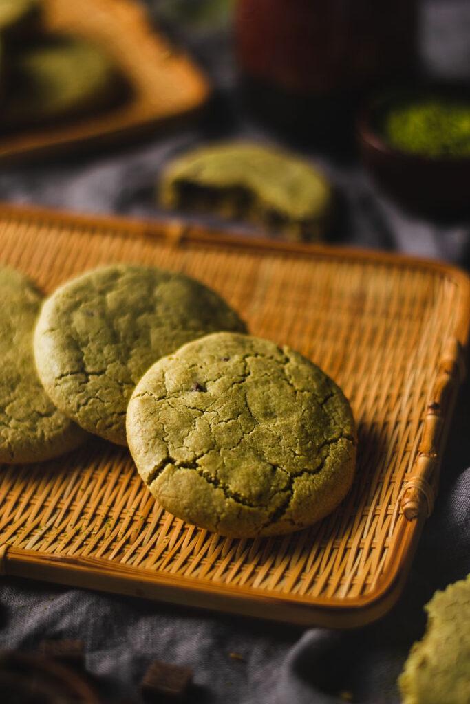 vegan matcha cookies on a serving platter