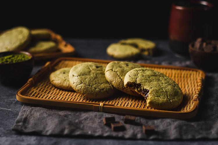 vegan matcha chocolate chunk cookies arranged on a serving tray