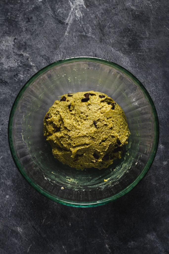 vegan matcha cookie dough in a bowl
