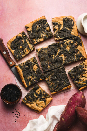 vegan mochi cake cut into squares