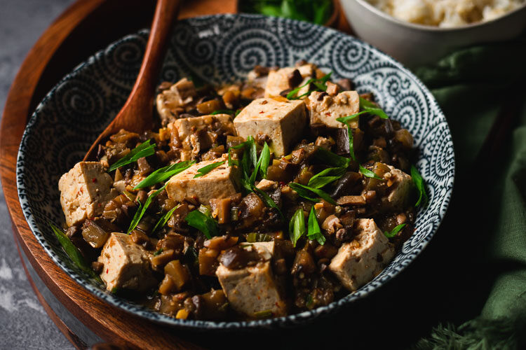 vegan mapo tofu in a bowl
