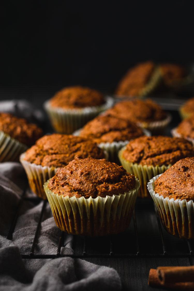vegan pumpkin muffins cooling set on wire rack