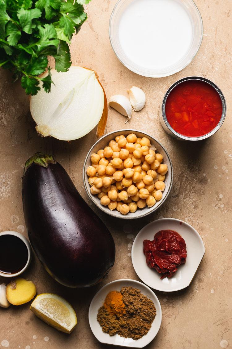 ingredients to make eggplant chana masala
