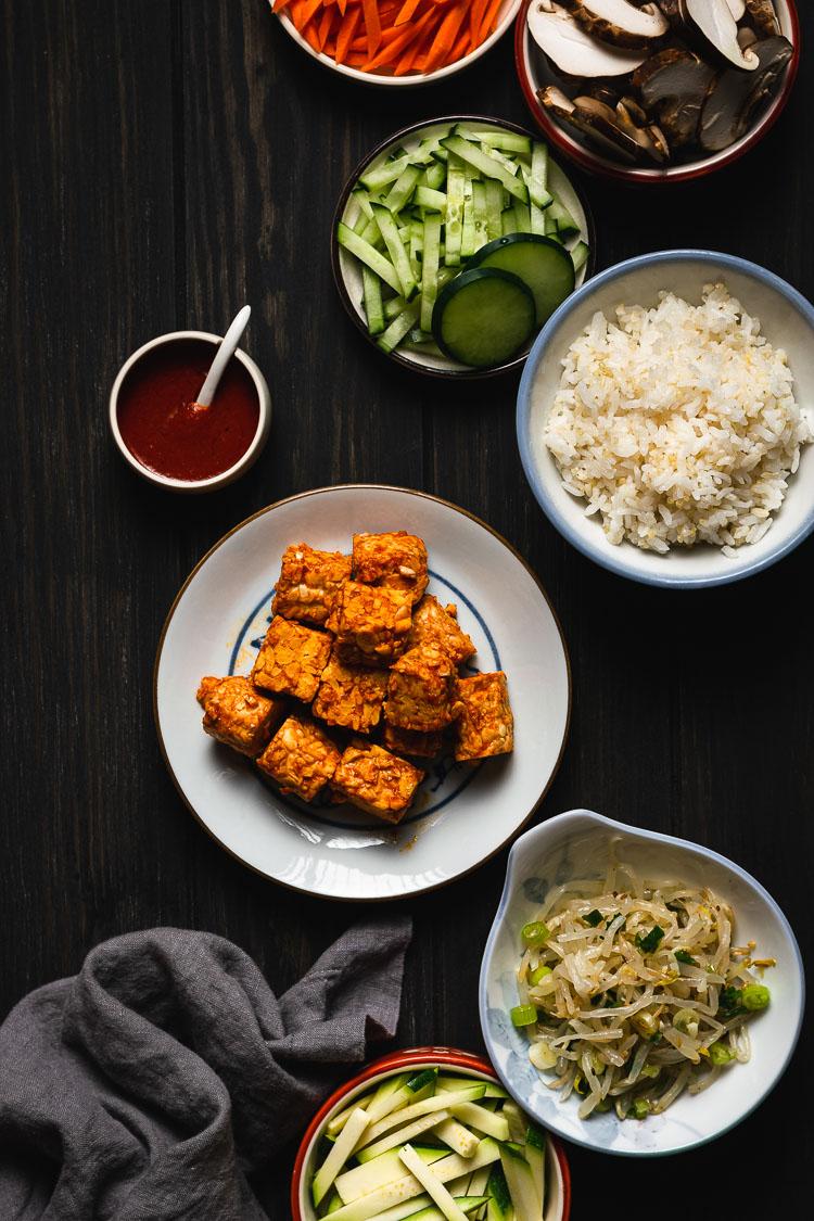 ingredients for vegan tempeh bibimbap