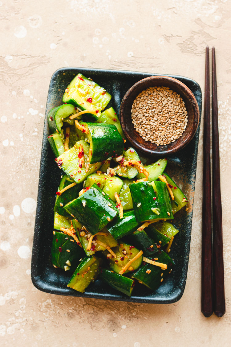 plate of Japanese smashed cucumbers