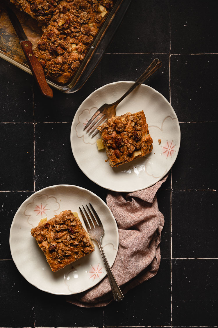 flatlay of coffee cake slices on plates